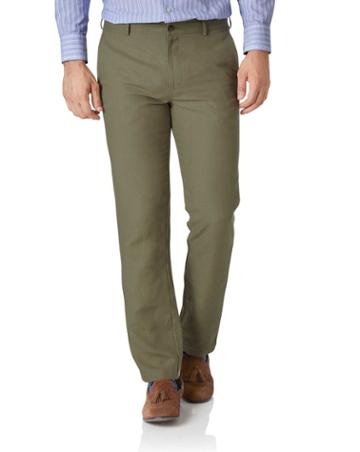 Olive Slim Fit Easy Care Linen Tailored Pants Size W30 L30 By Charles Tyrwhitt