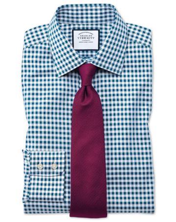 Charles Tyrwhitt Classic Fit Non-iron Gingham Teal Cotton Dress Shirt Single Cuff Size 15.5/34 By Charles Tyrwhitt