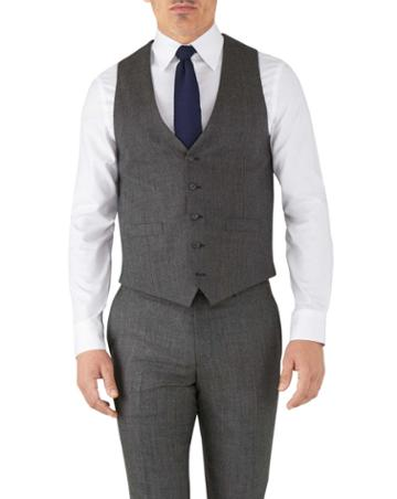 Charles Tyrwhitt Silver Adjustable Fit Flannel Business Suit Wool Vest Size W36 By Charles Tyrwhitt