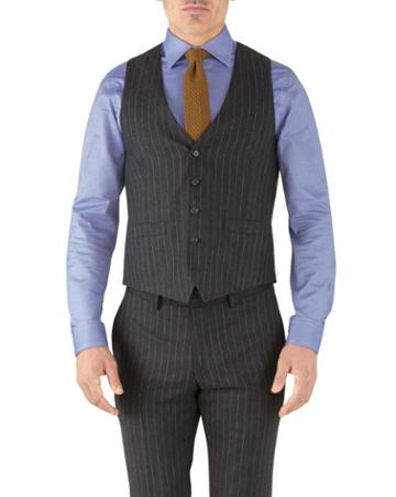 Charles Tyrwhitt Charcoal Stripe Adjustable Fit Flannel Business Suit Wool Vest Size W36 By Charles Tyrwhitt