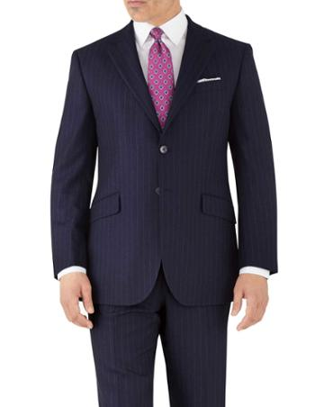 Charles Tyrwhitt Navy Stripe Classic Fit Flannel Business Suit Wool Jacket Size 38 By Charles Tyrwhitt