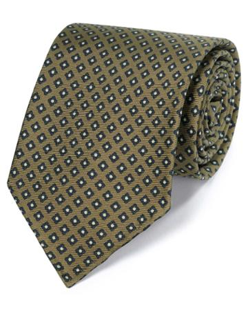 Sage Green And Navy Geometric Luxury English Hand Rolled Silk Tie By Charles Tyrwhitt