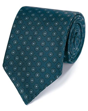Teal And Grey Motif Luxury English Hand Rolled Silk Tie By Charles Tyrwhitt