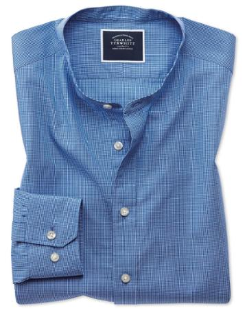 Slim Fit Blue Check Collarless Cotton Casual Shirt Single Cuff Size Large By Charles Tyrwhitt
