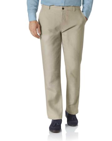 Stone Classic Fit Easy Care Linen Tailored Pants Size W32 L30 By Charles Tyrwhitt