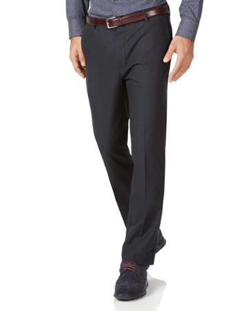 Charcoal Slim Fit Stretch Non-iron Cotton Tailored Pants Size W30 L30 By Charles Tyrwhitt