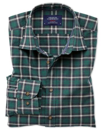 Charles Tyrwhitt Slim Fit Heather Tartan Navy Blue And Green Check Cotton Casual Shirt Single Cuff Size Large By Charles Tyrwhitt