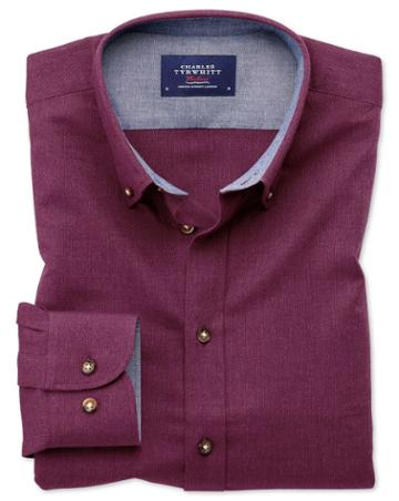 Charles Tyrwhitt Classic Fit Button-down Soft Cotton Berry Casual Shirt Single Cuff Size Large By Charles Tyrwhitt