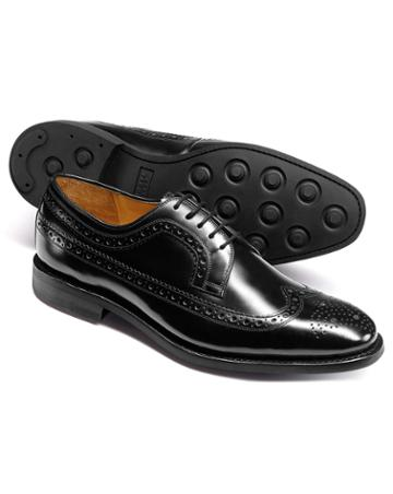 Black Goodyear Welted Derby Wing Tip Brogue Shoes Size 11.5 By Charles Tyrwhitt