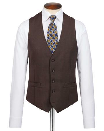 Brown Slim Fit Birdseye Travel Suit Wool Vest Size W36 By Charles Tyrwhitt