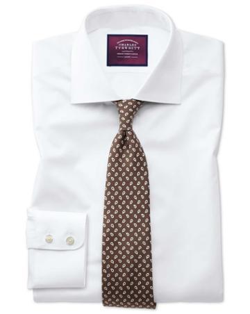 Slim Fit Semi-spread Collar Luxury Twill White Egyptian Cotton Dress Shirt French Cuff Size 14.5/33 By Charles Tyrwhitt