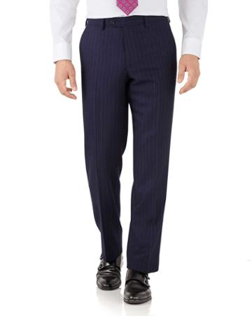 Charles Tyrwhitt Navy Stripe Classic Fit Flannel Business Suit Wool Pants Size W32 L32 By Charles Tyrwhitt