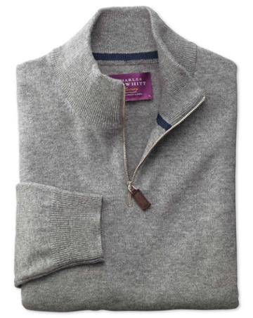 Charles Tyrwhitt Silver Cashmere Zip Neck Sweater Size Large By Charles Tyrwhitt