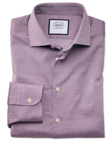 Slim Fit Business Casual Purple Square Texture Egyptian Cotton Dress Shirt Single Cuff Size 14.5/32 By Charles Tyrwhitt