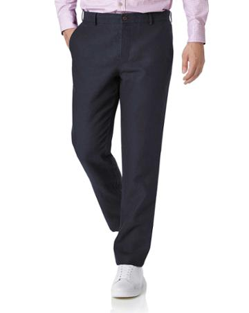 Navy Slim Fit Easy Care Linen Tailored Pants Size W30 L30 By Charles Tyrwhitt