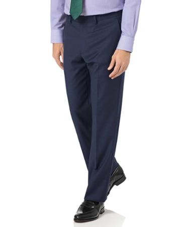 Charles Tyrwhitt Mid Blue Classic Fit Twill Business Suit Wool Pants Size W32 L30 By Charles Tyrwhitt