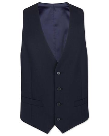 Midnight Blue Adjustable Fit Merino Business Suit Merino Wool Waistcoat Size W40 By Charles Tyrwhitt
