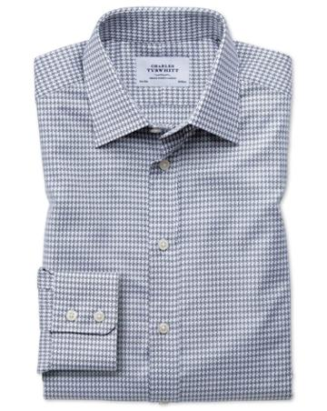 Charles Tyrwhitt Slim Fit Large Puppytooth Light Grey Cotton Dress Casual Shirt Single Cuff Size 14.5/33 By Charles Tyrwhitt
