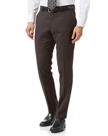 Brown Slim Fit Birdseye Travel Suit Wool Pants Size W30 L38 By Charles Tyrwhitt