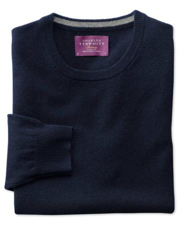 Charles Tyrwhitt Navy Cashmere Crew Neck Sweater Size Large By Charles Tyrwhitt