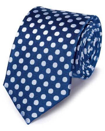 Charles Tyrwhitt Royal And White Silk Large Spot Classic Tie By Charles Tyrwhitt