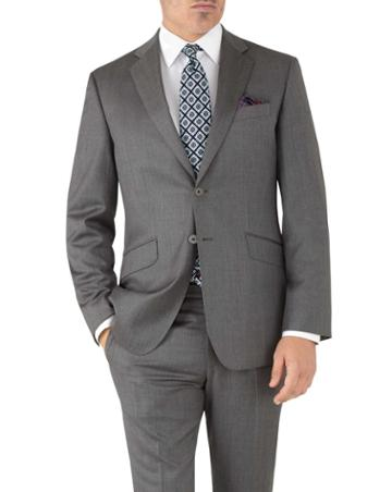 Charles Tyrwhitt Grey Slim Fit Italian Suit Wool Jacket Size 36 By Charles Tyrwhitt