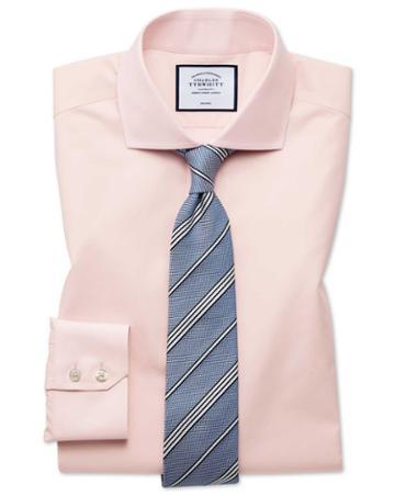 Slim Fit Non-iron Tyrwhitt Cool Poplin Peach Cotton Dress Shirt Single Cuff Size 14.5/33 By Charles Tyrwhitt