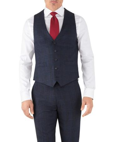 Charles Tyrwhitt Blue Prince Of Wales Adjustable Fit Flannel Business Suit Wool Vest Size W36 By Charles Tyrwhitt