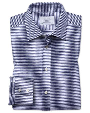 Charles Tyrwhitt Classic Fit Large Puppytooth Blue Cotton Dress Casual Shirt Single Cuff Size 15.5/33 By Charles Tyrwhitt