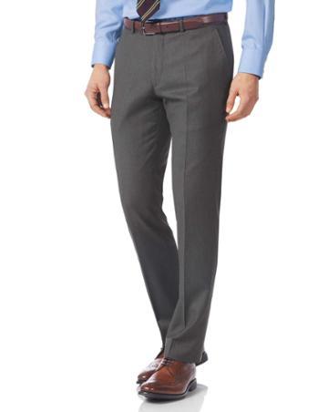 Grey Slim Fit Italian Twill Luxury Suit Wool Pants Size W30 L38 By Charles Tyrwhitt
