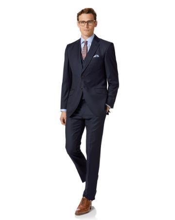 Navy Slim Fit Twill Italian Luxury Suit Wool Jacket Size 36 By Charles Tyrwhitt