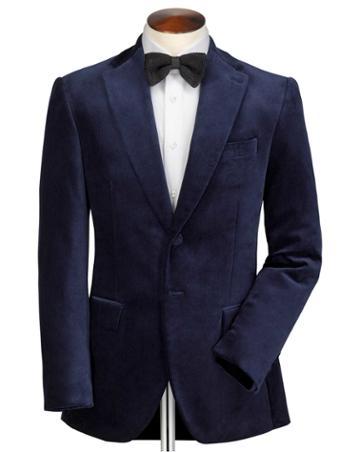 Charles Tyrwhitt Slim Fit Navy Velvet Cotton Blazer Size 36 By Charles Tyrwhitt