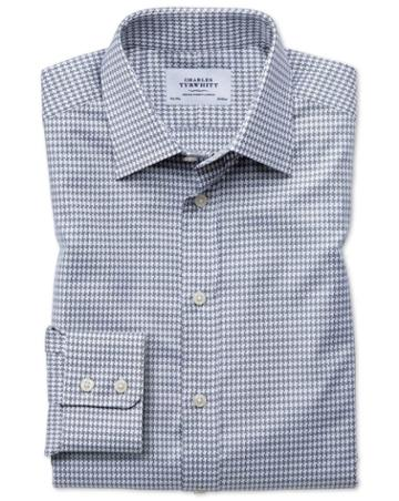Charles Tyrwhitt Classic Fit Large Puppytooth Light Grey Cotton Dress Casual Shirt Single Cuff Size 15.5/33 By Charles Tyrwhitt