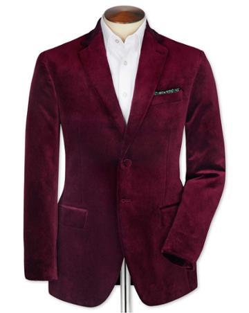 Charles Tyrwhitt Slim Fit Burgundy Velvet Cotton Blazer Size 36 By Charles Tyrwhitt