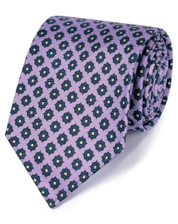 Lilac And Navy Motif Luxury English Hand Rolled Silk Tie By Charles Tyrwhitt