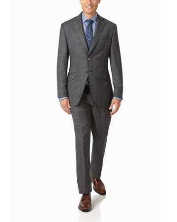 Grey Slim Fit Luxury Italian Check Suit Wool Jacket Size 36 By Charles Tyrwhitt
