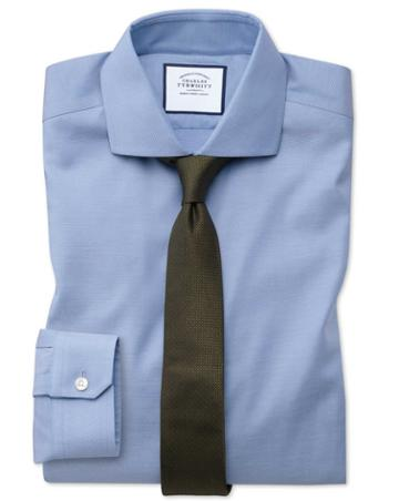 Super Slim Fit Non-iron Mid-blue Oxford Stretch Cotton Dress Shirt Single Cuff Size 14/33 By Charles Tyrwhitt