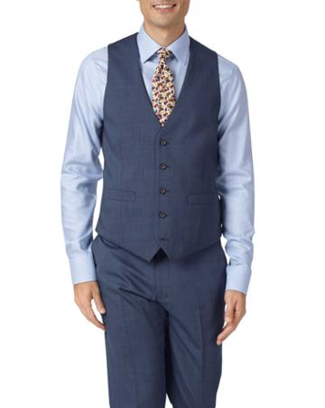 Light Blue Adjustable Fit Step Weave Suit Wool Vest Size W36 By Charles Tyrwhitt