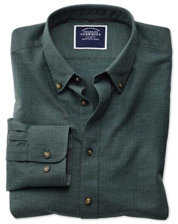 Extra Slim Fit Green Herringbone Melange Cotton Casual Shirt Single Cuff Size Xl By Charles Tyrwhitt