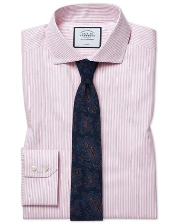 Extra Slim Fit Cutaway Collar Non-iron Soft Twill Pink Stripe Cotton Dress Shirt Single Cuff Size 14.5/32 By Charles Tyrwhitt