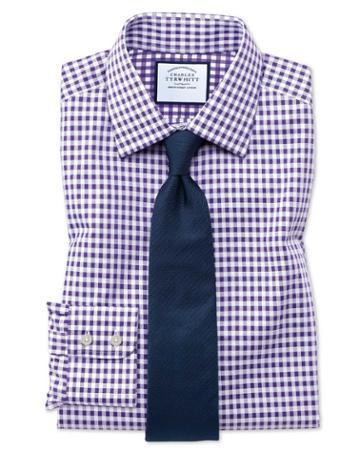Charles Tyrwhitt Extra Slim Fit Non-iron Gingham Purple Cotton Dress Shirt Single Cuff Size 15/32 By Charles Tyrwhitt