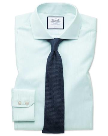 Slim Fit Non-iron Tyrwhitt Cool Poplin Aqua Stripe Cotton Dress Shirt Single Cuff Size 14.5/33 By Charles Tyrwhitt