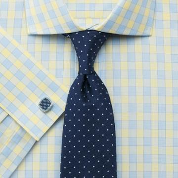 Charles Tyrwhitt Classic Fit City Gingham Spread Collar Yellow Cotton Dress Shirt Single Cuff Size 15/35 By Charles Tyrwhitt