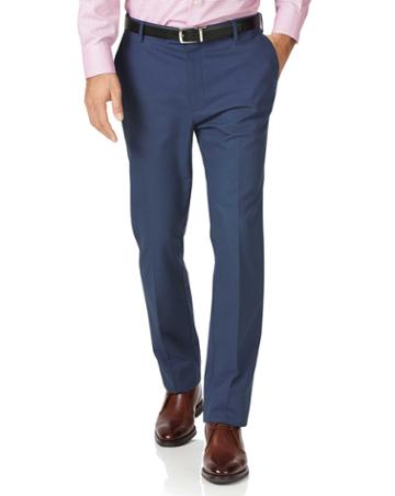 Blue Classic Fit Stretch Non-iron Cotton Tailored Pants Size W32 L30 By Charles Tyrwhitt