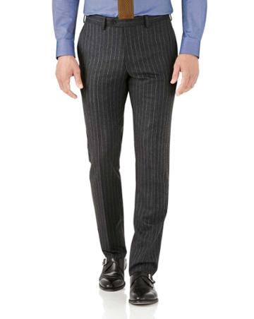 Charles Tyrwhitt Charcoal Stripe Slim Fit Flannel Business Suit Wool Pants Size W30 L38 By Charles Tyrwhitt