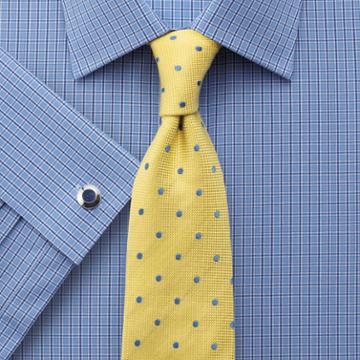 Charles Tyrwhitt Classic Fit Block Check Blue Cotton Dress Shirt French Cuff Size 15/35 By Charles Tyrwhitt