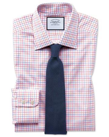 Classic Fit Egyptian Cotton Poplin Pink Multi Check Dress Shirt Single Cuff Size 15/34 By Charles Tyrwhitt