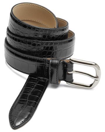 Black Leather Croc Embossed Smart Belt Size 32 By Charles Tyrwhitt