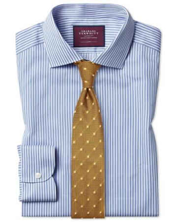 Slim Fit Luxury Stripe Sky Egyptian Cotton Dress Shirt Single Cuff Size 15/33 By Charles Tyrwhitt