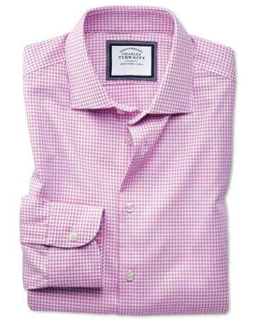 Charles Tyrwhitt Classic Fit Semi-spread Collar Business Casual Non-iron Pink & White Spot Cotton Dress Shirt Single Cuff Size 15/33 By Charles Tyrwhitt
